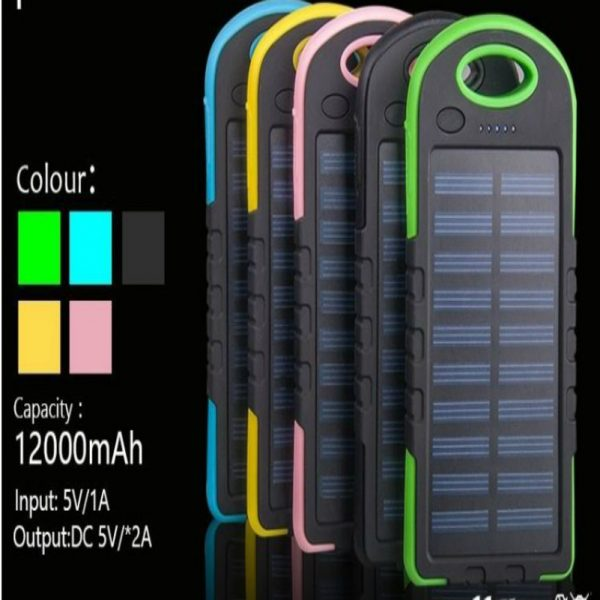 Portable Solar Charger 12000 mAh with Black, Blue, Brown, Gray, Green colors