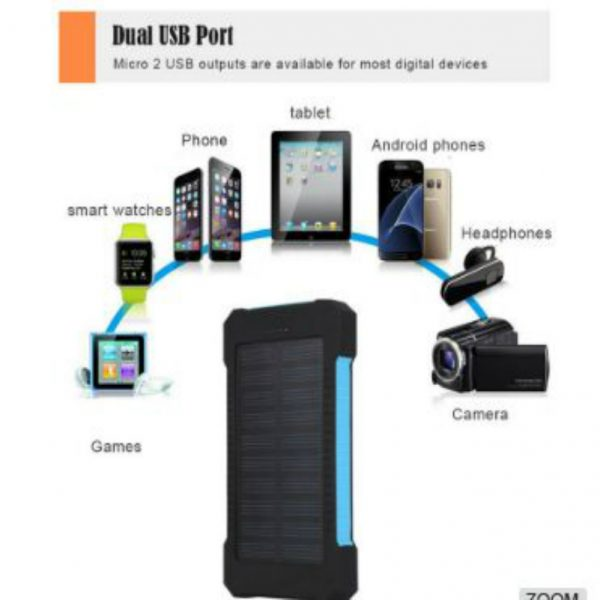Portable Solar Charger_capacity 8000 mah_with 85% power bank efficiency